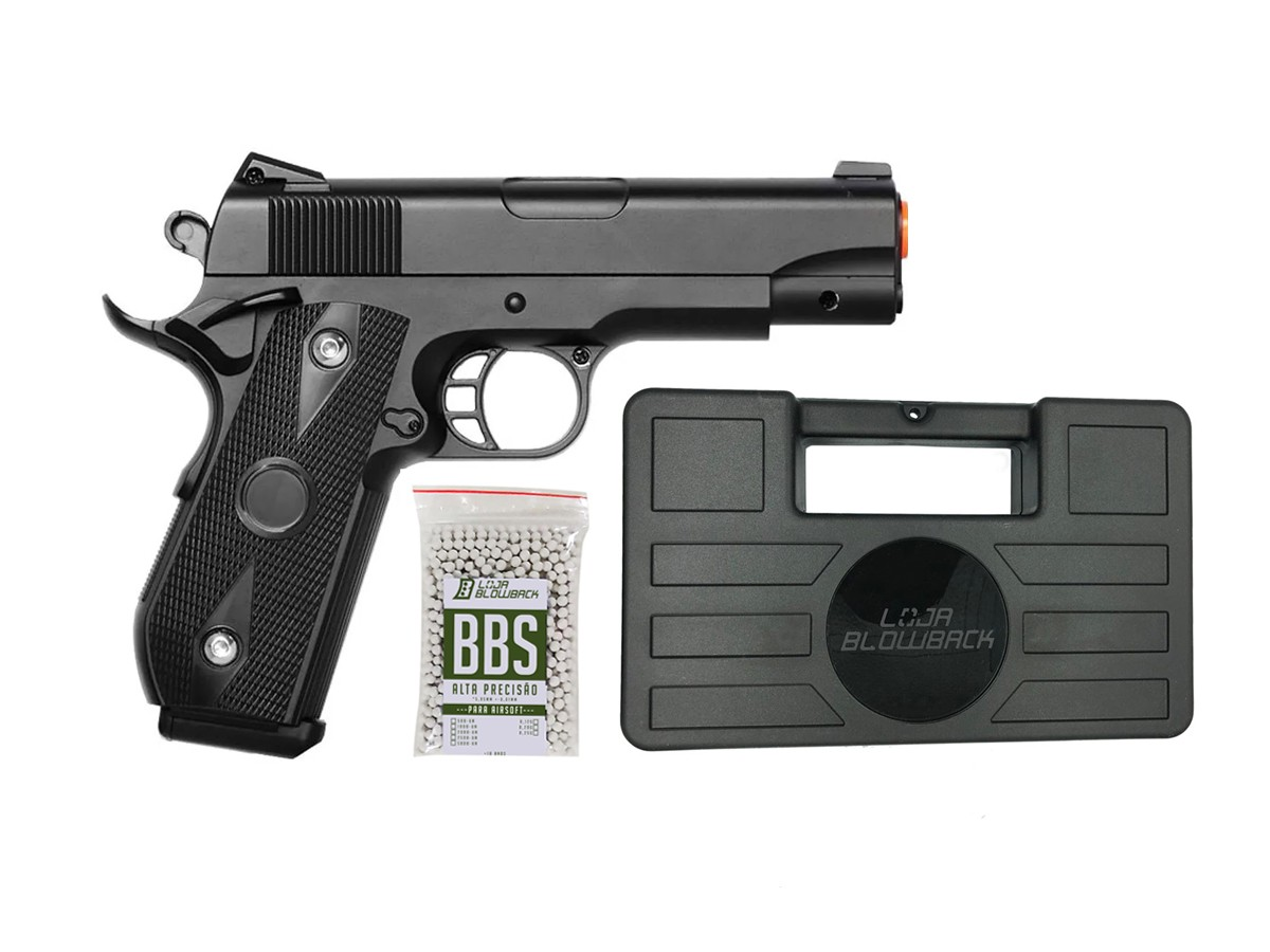 Pistola airsoft 1911 full metal V9 6mm + 1000 bbs + maleta
