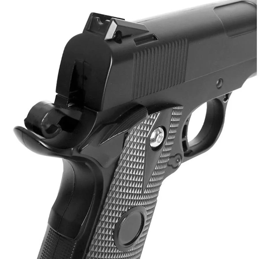 Pistola airsoft 1911 full metal V9 6mm + 1000 bbs + maleta