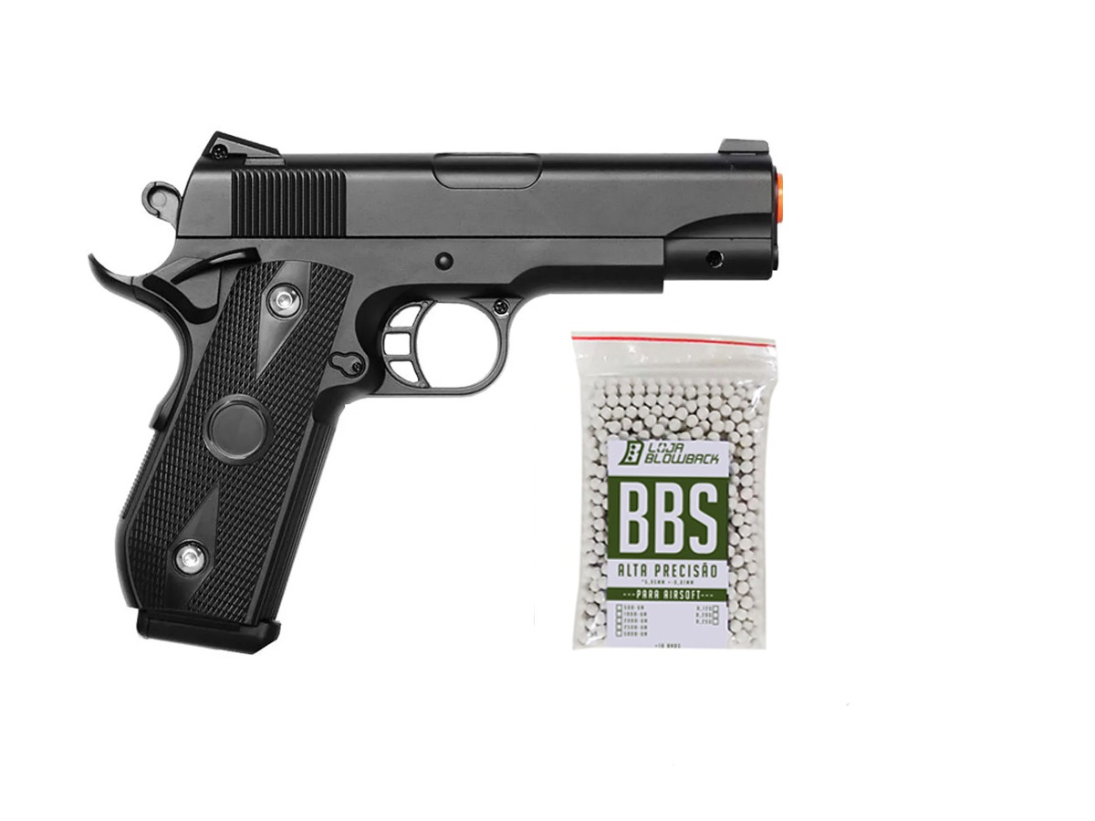 Pistola airsoft 1911 full metal V9 vigor 6mm + 1000 bbs
