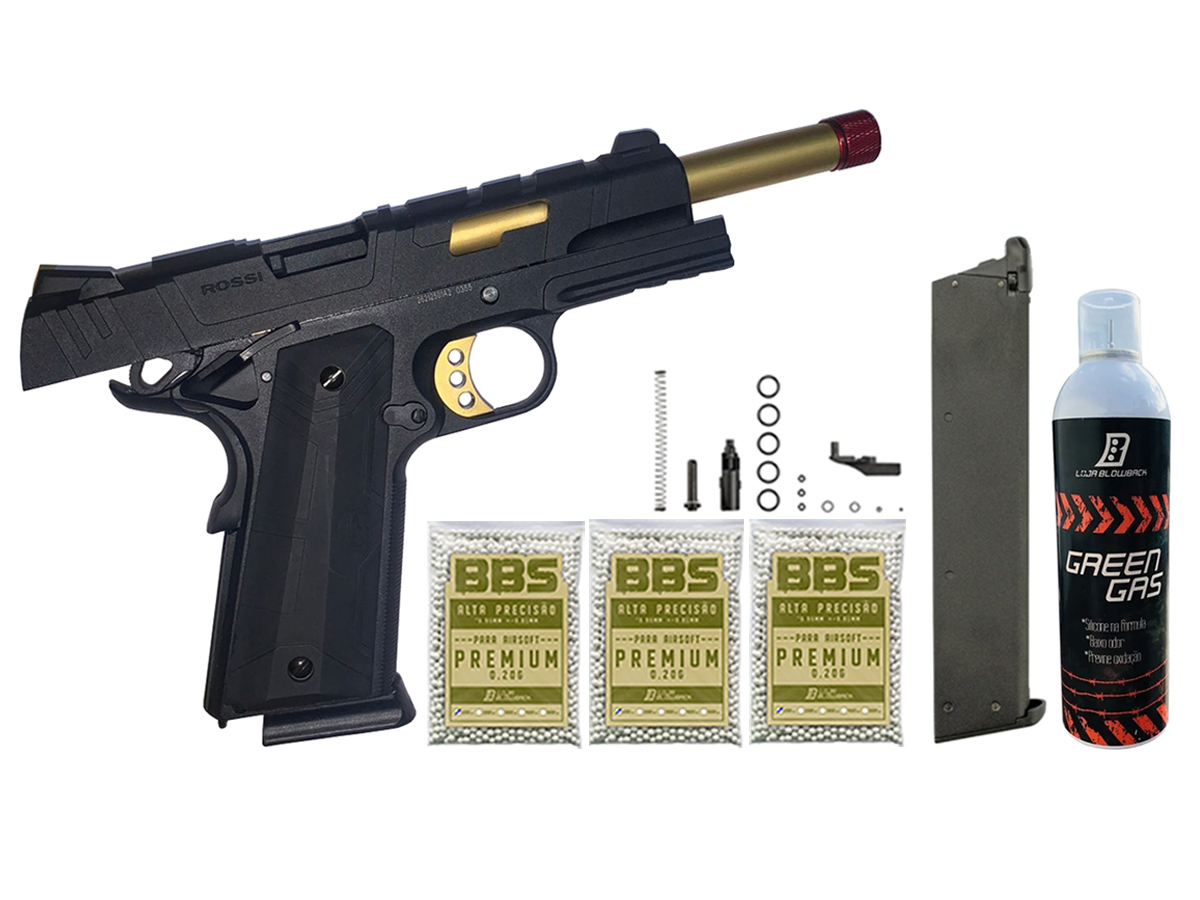 Pistola de Airsoft 1911 Slide Metal Gbb Gold C/ Blowback Rossi 6mm + Green Gás loja Blowback + Magazine extra P/ 1911 Rossi Green Gás + 3000 Bbs 0,20g loja Blowback