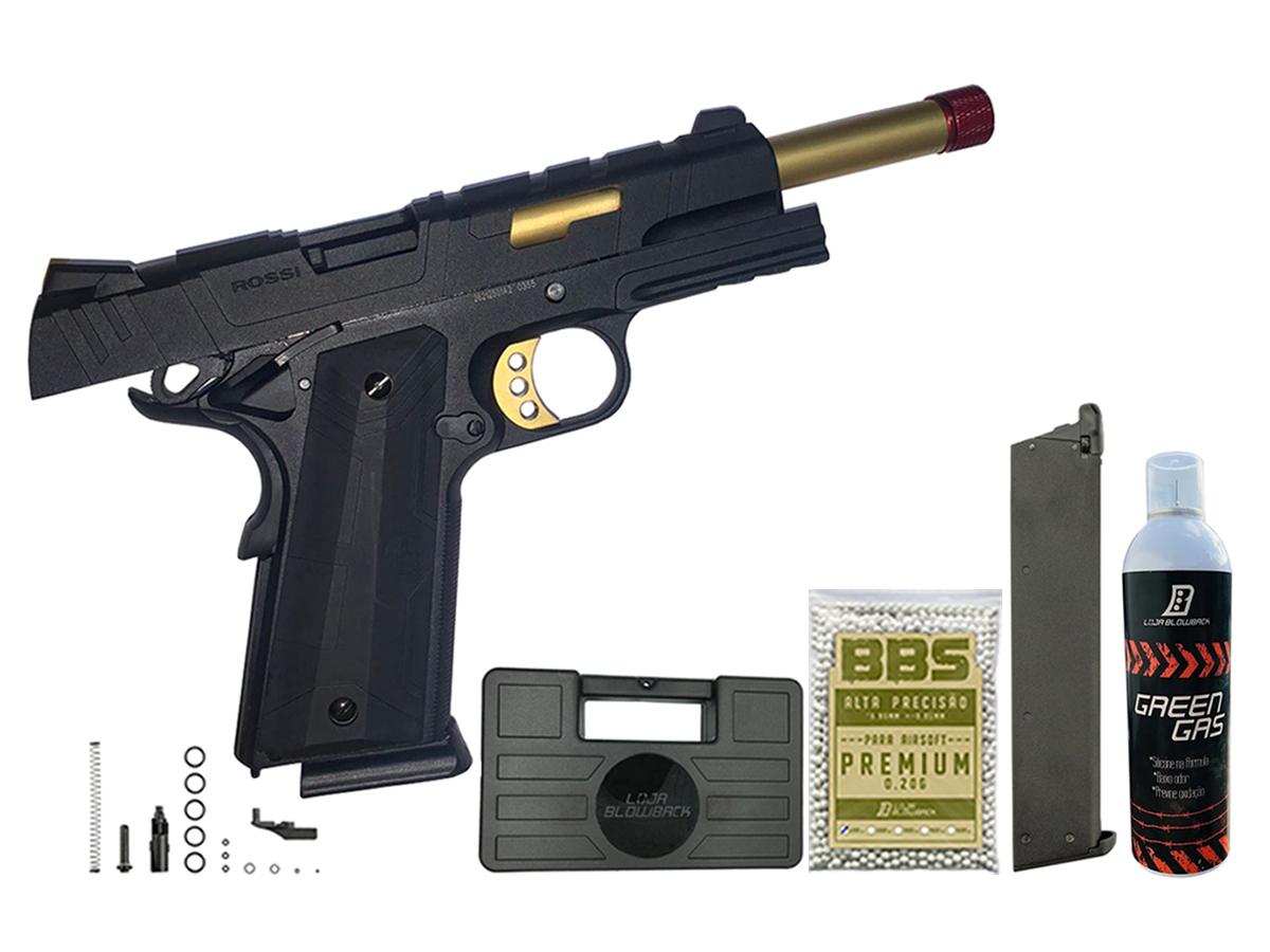 Pistola de Airsoft 1911 Slide Metal Gbb Gold C/ Blowback Rossi 6mm + Green Gás loja Blowback + Magazine extra P/ 1911 Rossi Green Gás + 1000 Bbs 0,20g loja Blowback + Maleta