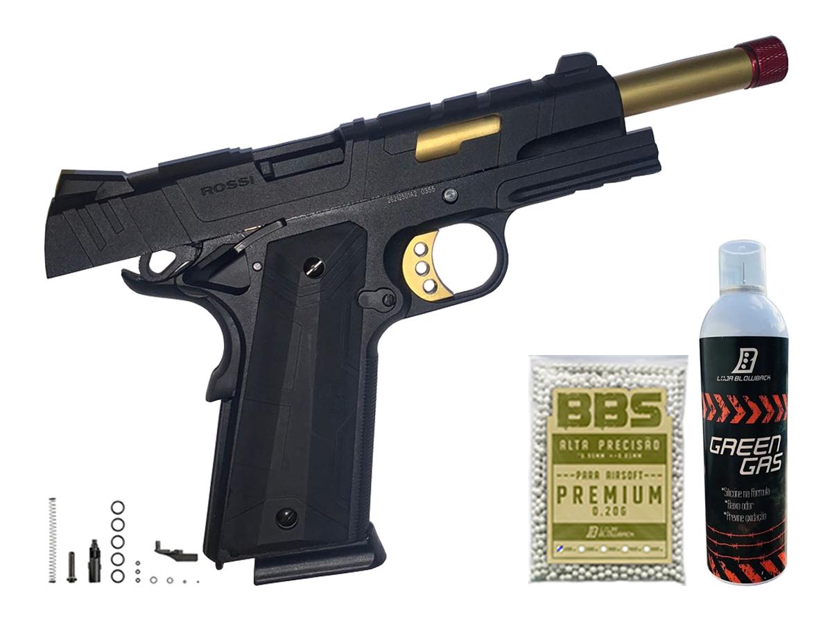 Pistola de Airsoft 1911 Slide Metal Gbb Gold C/ Blowback Rossi 6mm + Green Gás loja Blowback + 1000 Bbs 0,20g loja Blowback