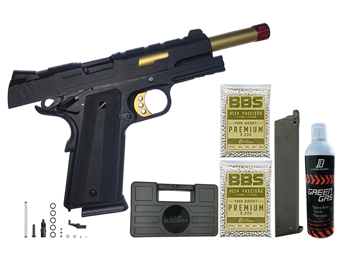 Pistola de Airsoft 1911 Slide Metal Gbb Gold C/ Blowback Rossi 6mm + Green Gás loja Blowback + Magazine extra P/ 1911 Rossi Green Gás + 2000 Bbs 0,20g loja Blowback + Maleta
