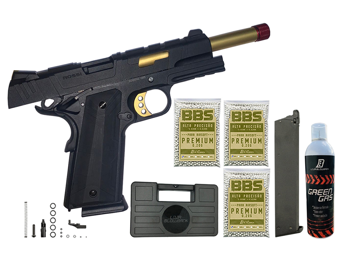 Pistola de Airsoft 1911 Slide Metal Gbb Gold C/ Blowback Rossi 6mm + Green Gás loja Blowback + Magazine extra P/ 1911 Rossi Green Gás + 3000 Bbs 0,20g loja Blowback + Maleta