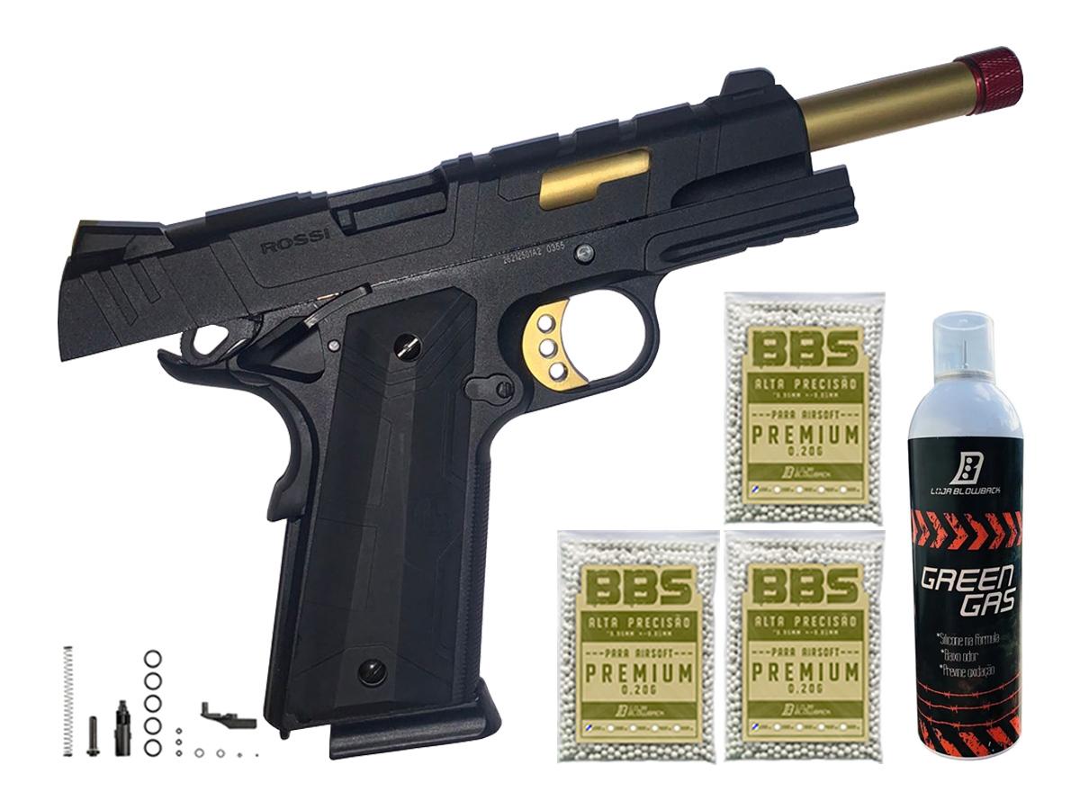 Pistola de Airsoft 1911 Slide Metal Gbb Gold C/ Blowback Rossi 6mm + Green Gás loja Blowback + 3000 Bbs 0,20g loja Blowback