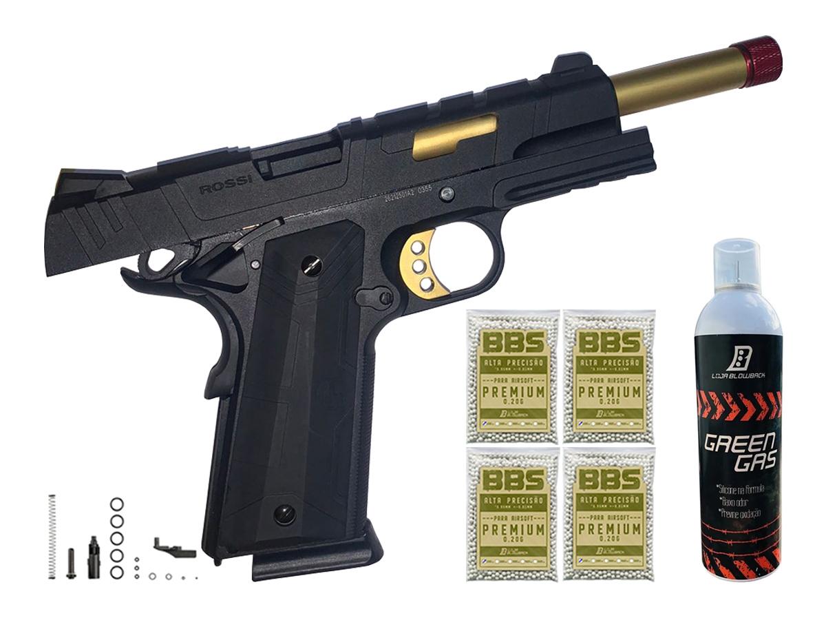 Pistola de Airsoft 1911 Slide Metal Gbb Gold C/ Blowback Rossi 6mm + Green Gás loja Blowback + 4000 Bbs 0,20g loja Blowback