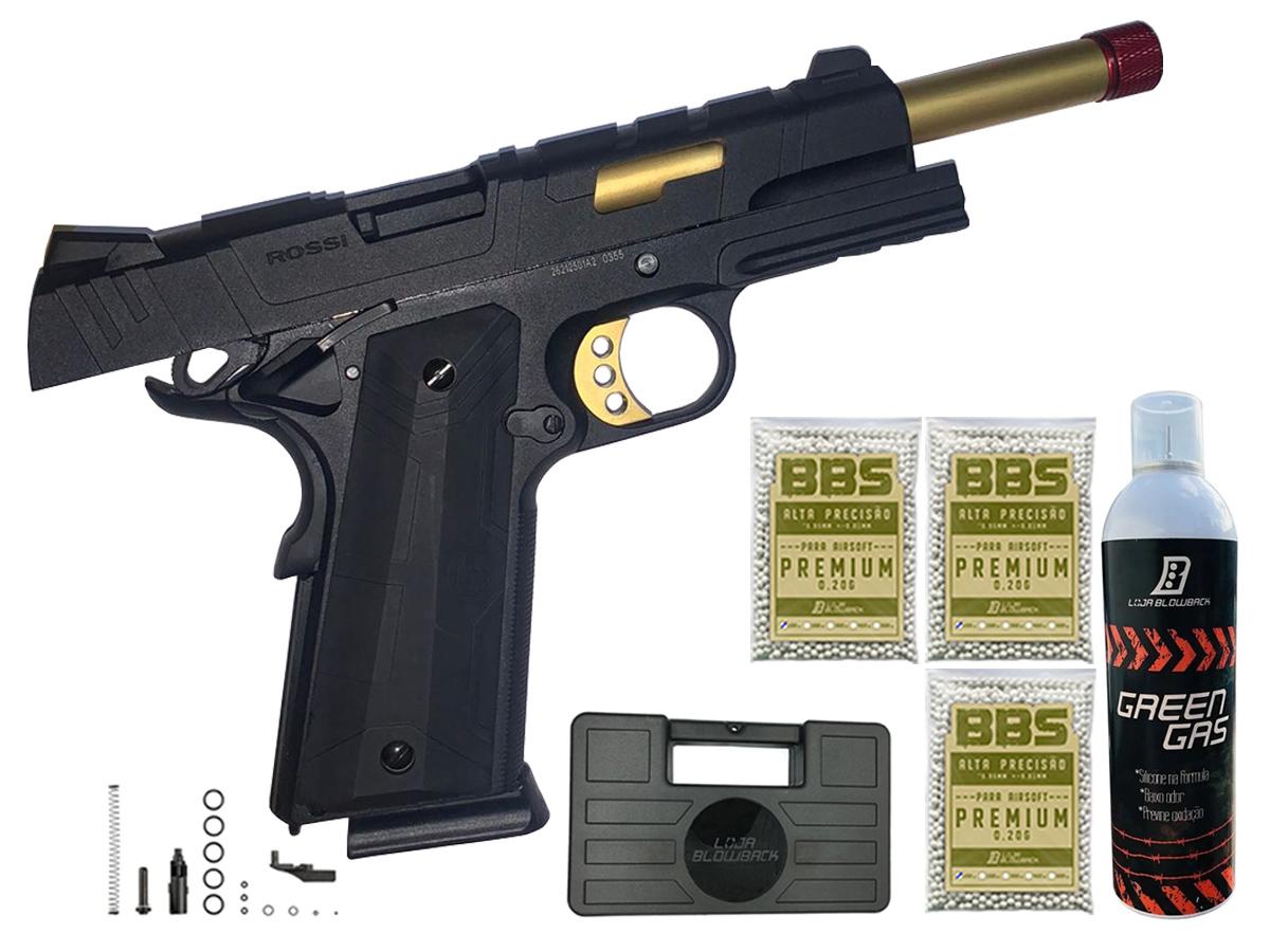 Pistola de Airsoft 1911 Slide Metal Gbb Gold C/ Blowback Rossi 6mm + Green Gás loja Blowback + 3000 Bbs 0,20g loja Blowback + Maleta