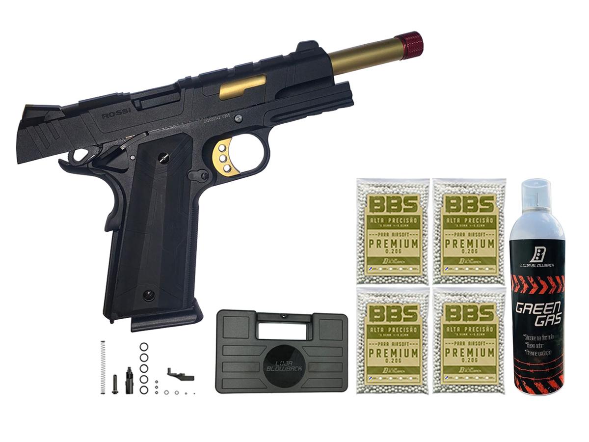 Pistola de Airsoft 1911 Slide Metal Gbb Gold C/ Blowback Rossi 6mm + Green Gás loja Blowback + 4000 Bbs 0,20g loja Blowback + Maleta