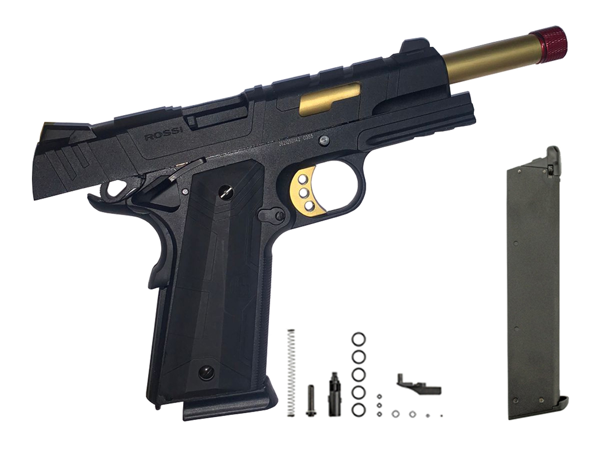 Pistola de Airsoft 1911 Slide Metal Gbb Gold C/ Blowback Rossi 6mm + Magazine extra P/ 1911 Rossi Green Gás