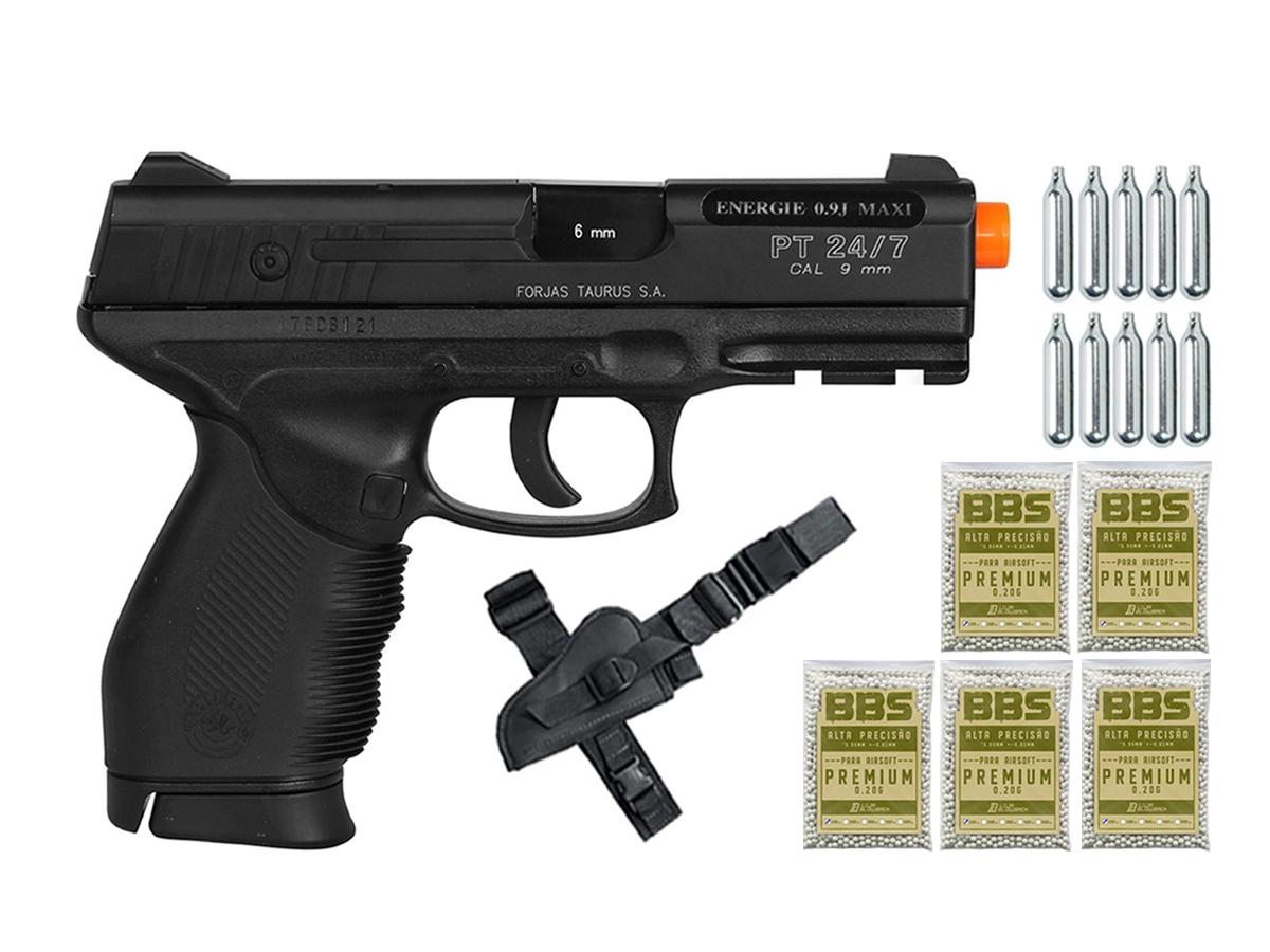 Pistola Airsoft 24/7 Co2 Taurus Slide Metal Cybergun 6mm H8