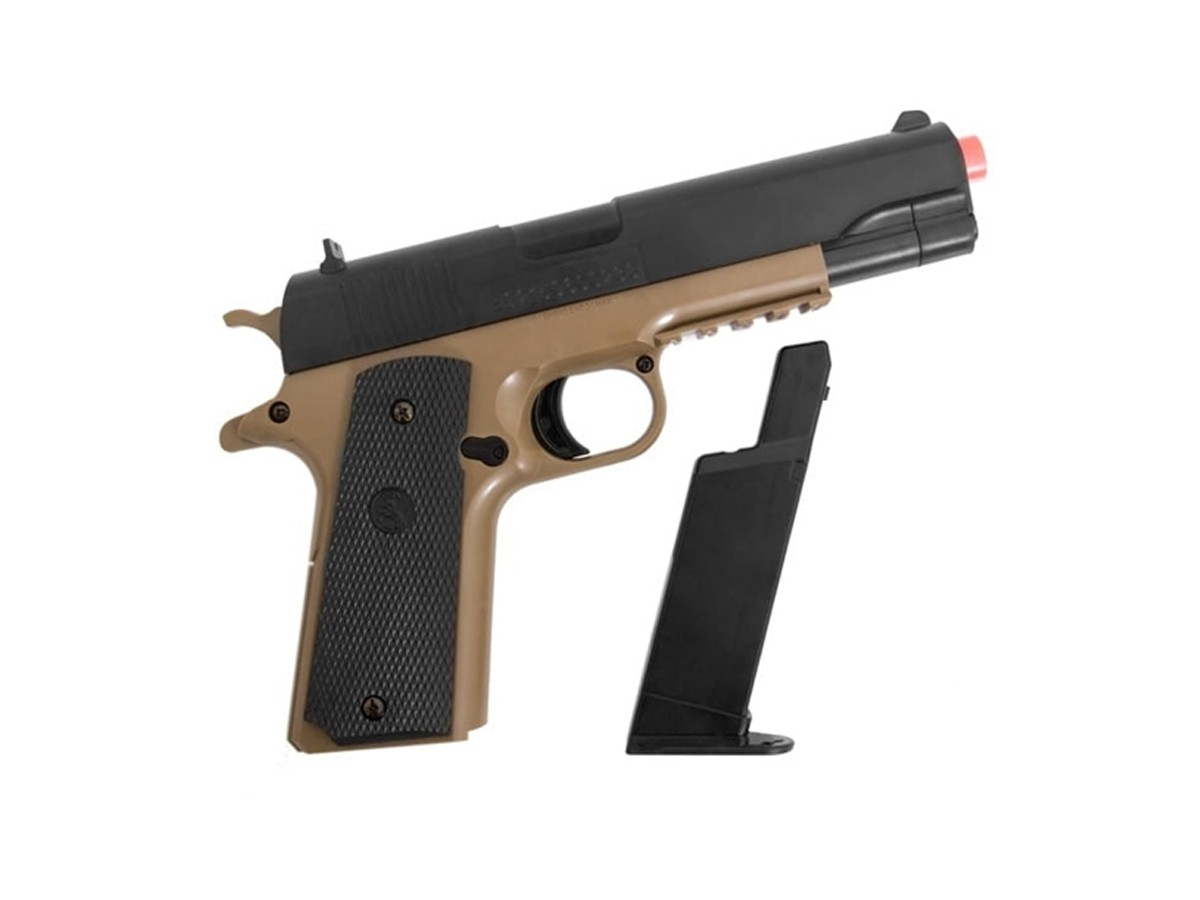 Pistola Airsoft Colt 1911 Tan & Bk 6mm + 1000 Bbs + Coldre + Maleta