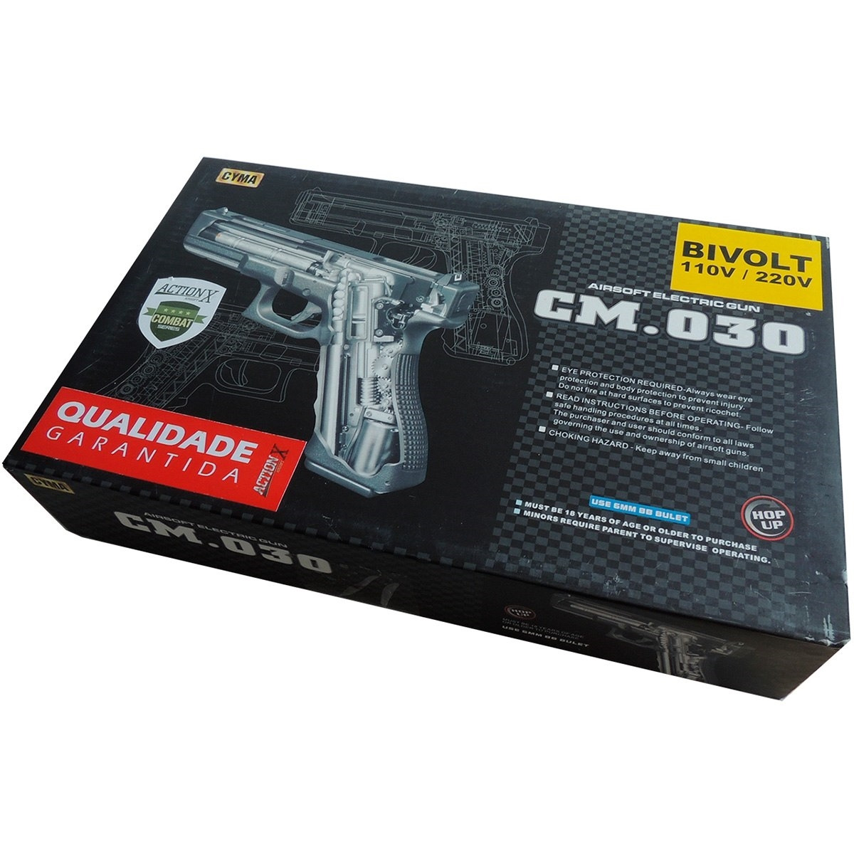 Pistola Airsoft Elétrica Glock 18c Cyma Bivolt Rajada Kit 4