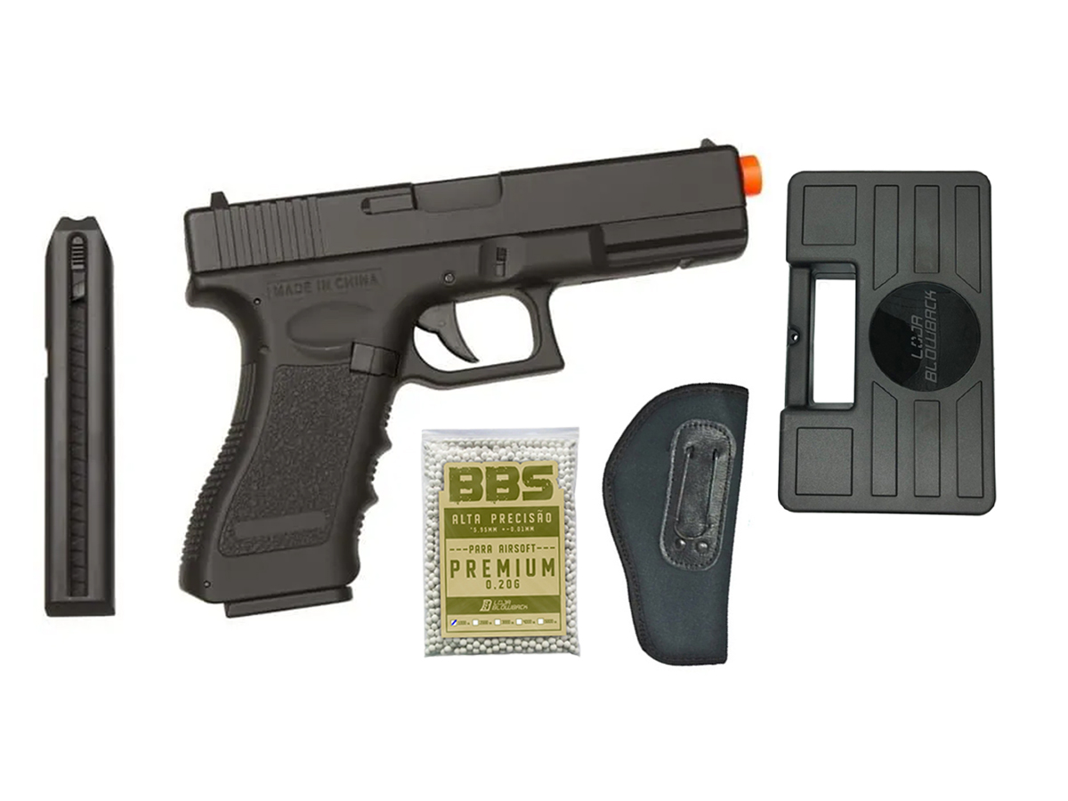 Pistola Airsoft Elétrica Glock 18c Cyma Bivolt Rajada Kit 5