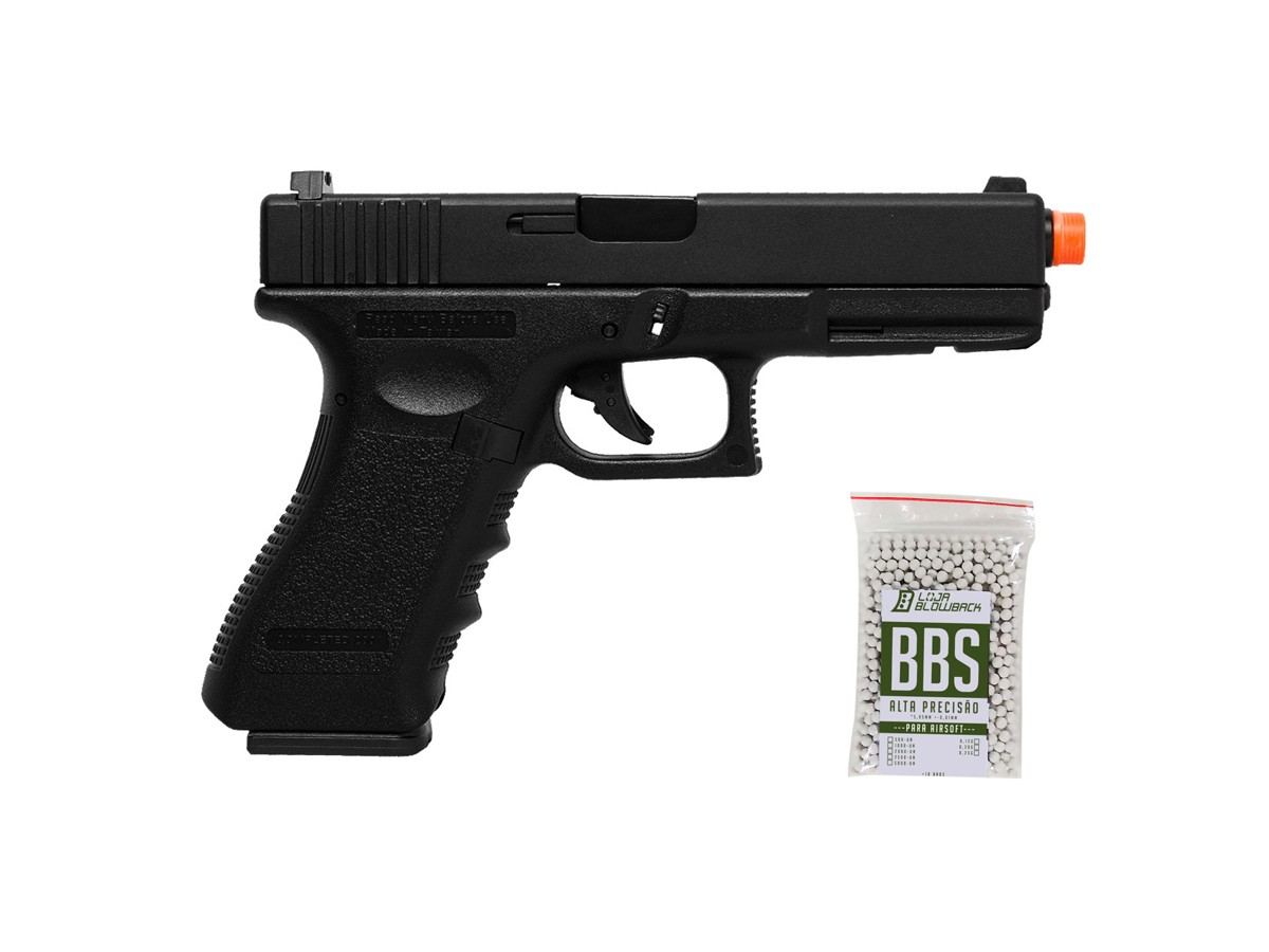 Pistola Airsoft Glock G18 GBB BlowBack HFC 6mm + 1000 Bbs
