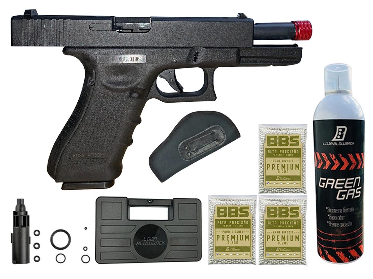 Pistola de Airsoft Glock R18 Gbb Metal C/ Rajada Rossi 6mm + Green Gás loja Blowback + Maleta loja Blowback + 3000 Bbs 0,20g loja Blowback + Coldre velado