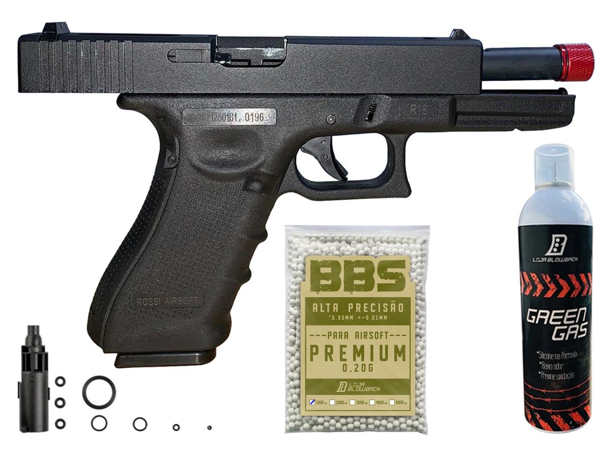 Pistola de Airsoft Glock R18 Gbb Metal C/ Rajada Rossi 6mm + Green Gás loja Blowback + 1000 Bbs 0,20g loja Blowback
