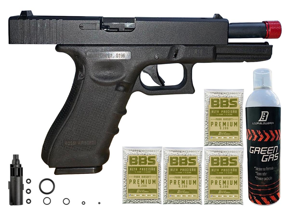 Pistola de Airsoft Glock R18 Gbb Metal C/ Rajada Rossi 6mm + Green Gás loja Blowback + 4000 Bbs 0,20g loja Blowback