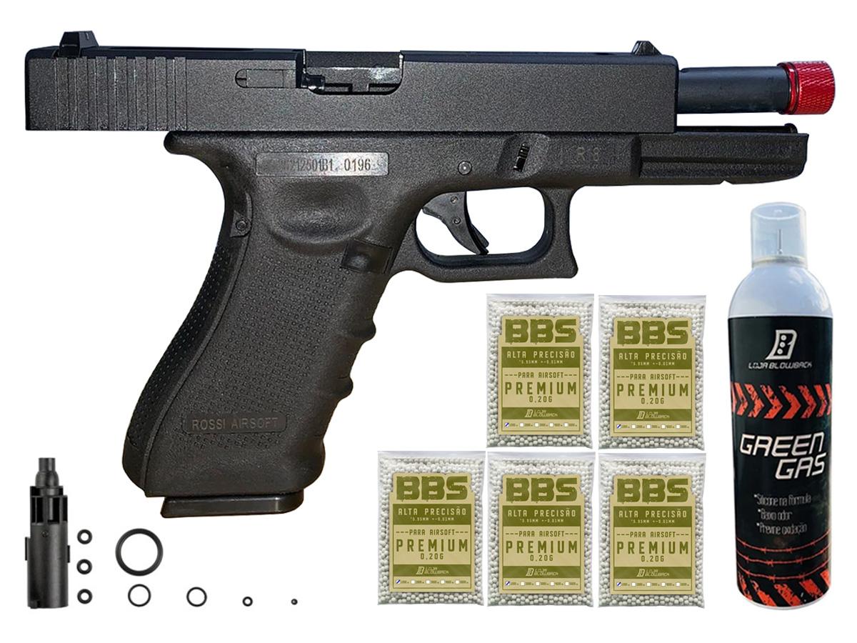 Pistola de Airsoft Glock R18 Gbb Metal C/ Rajada Rossi 6mm + Green Gás loja Blowback + 5000 Bbs 0,20g loja Blowback