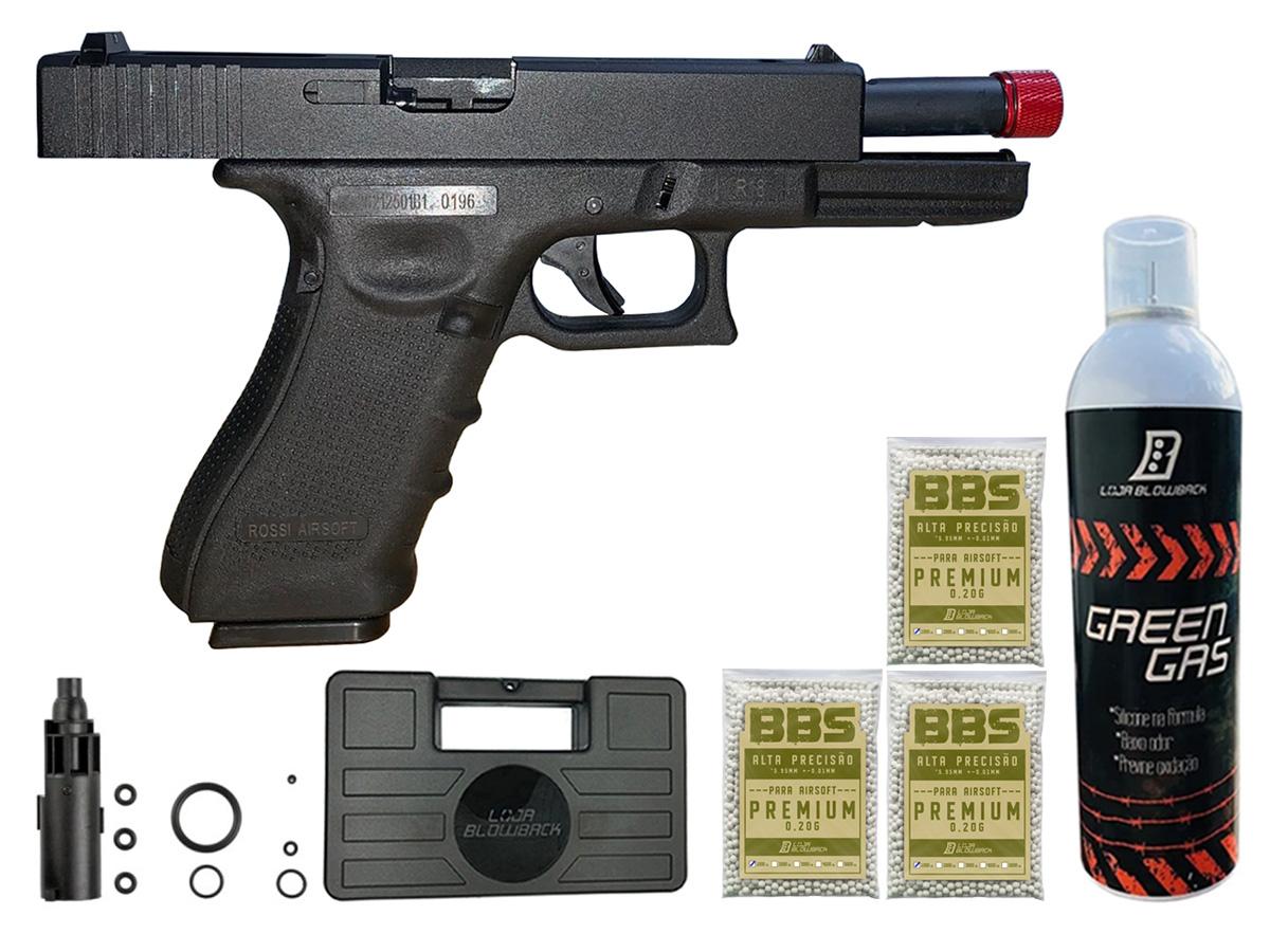 Pistola de Airsoft Glock R18 Gbb Metal C/ Rajada Rossi 6mm + Green Gás loja Blowback + Maleta loja Blowback + 3000 Bbs 0,20g loja Blowback