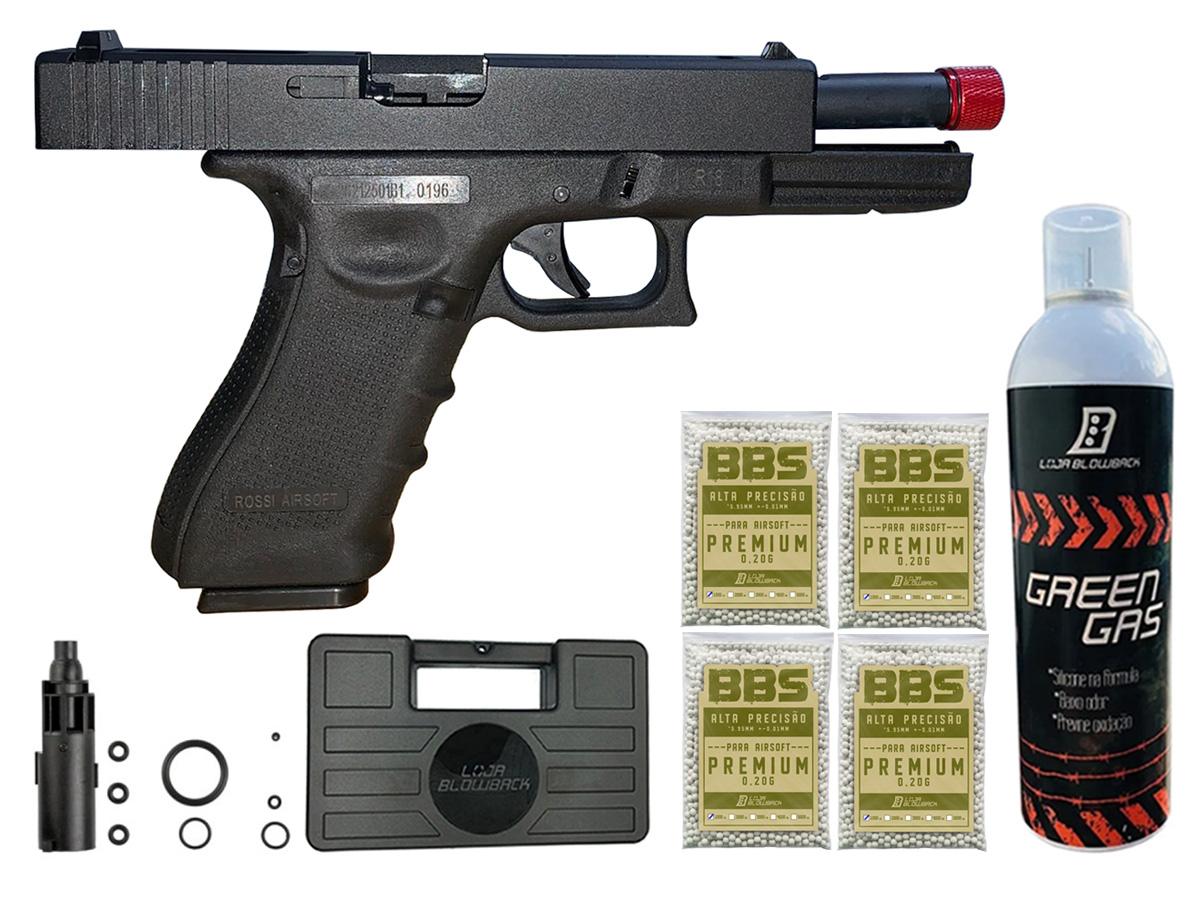 Pistola de Airsoft Glock R18 Gbb Metal C/ Rajada Rossi 6mm + Green Gás loja Blowback + Maleta loja Blowback + 4000 Bbs 0,20g loja Blowback