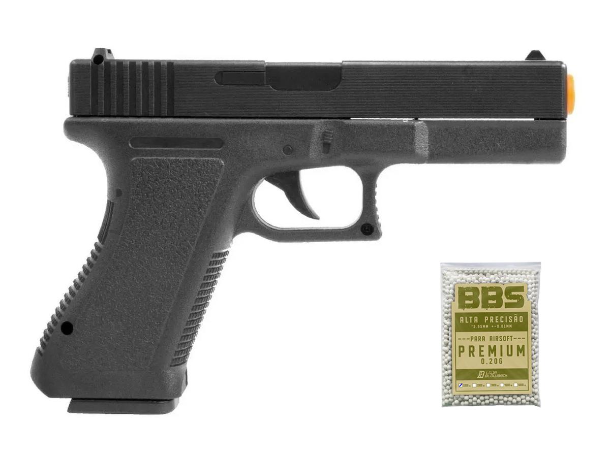 Pistola Airsoft Glock Spring  V307 6mm + 1000 Bbs 0.20g