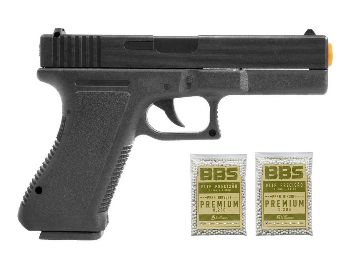 Pistola Airsoft Glock Spring  V307 6mm + 2000 Bbs 0.20g