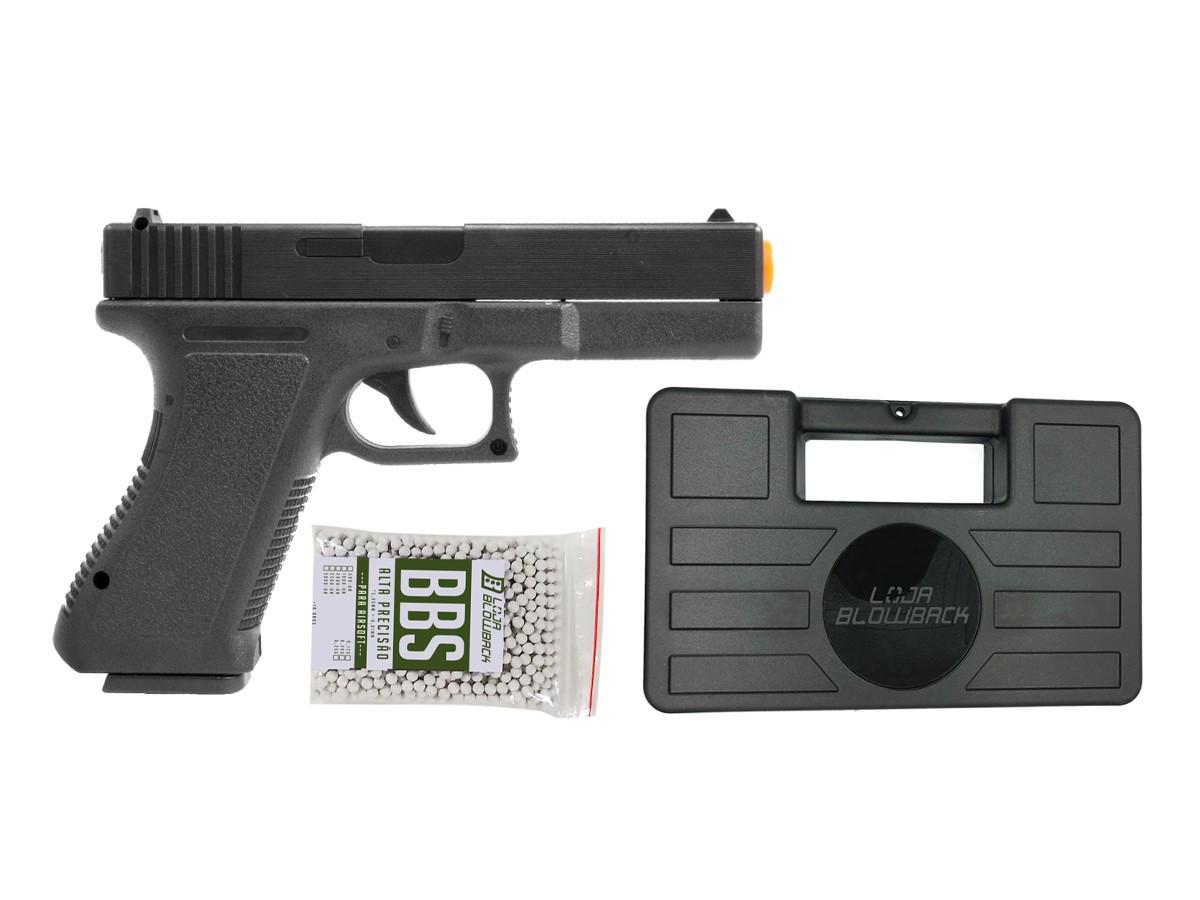 Pistola Airsoft Glock Spring  V307 6mm + maleta case + 1000 bbs