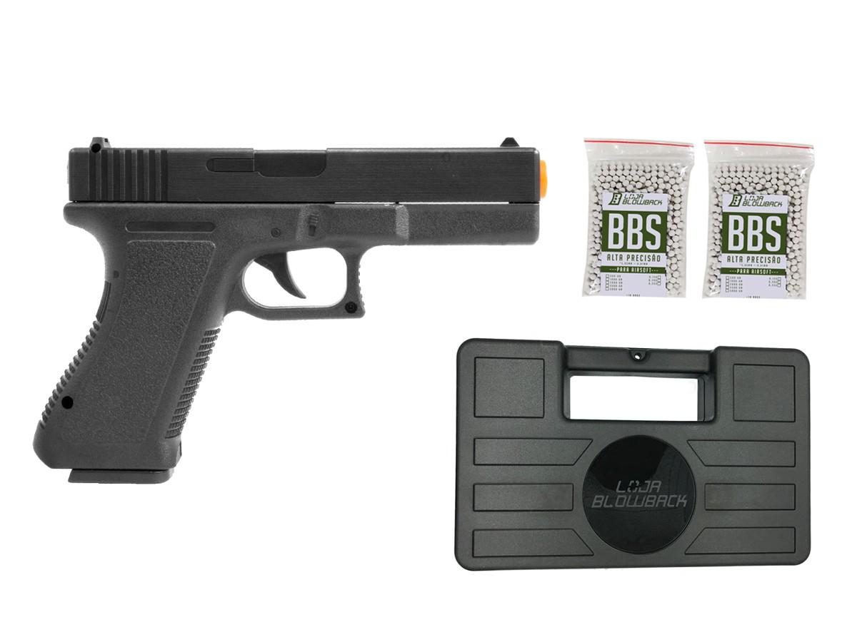 Pistola Airsoft Glock Spring  V307 6mm + maleta case + 2000 bbs