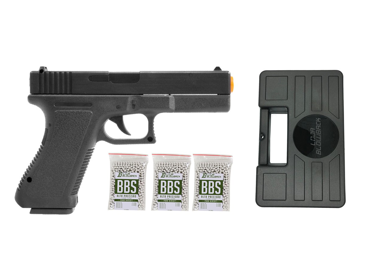 Pistola Airsoft Glock Spring  V307 6mm + maleta case + 3000 bbs