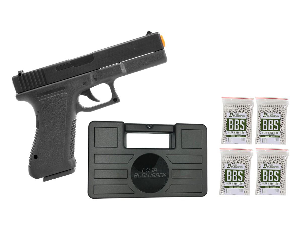 Pistola Airsoft Glock Spring  V307 6mm + maleta case + 4000 bbs