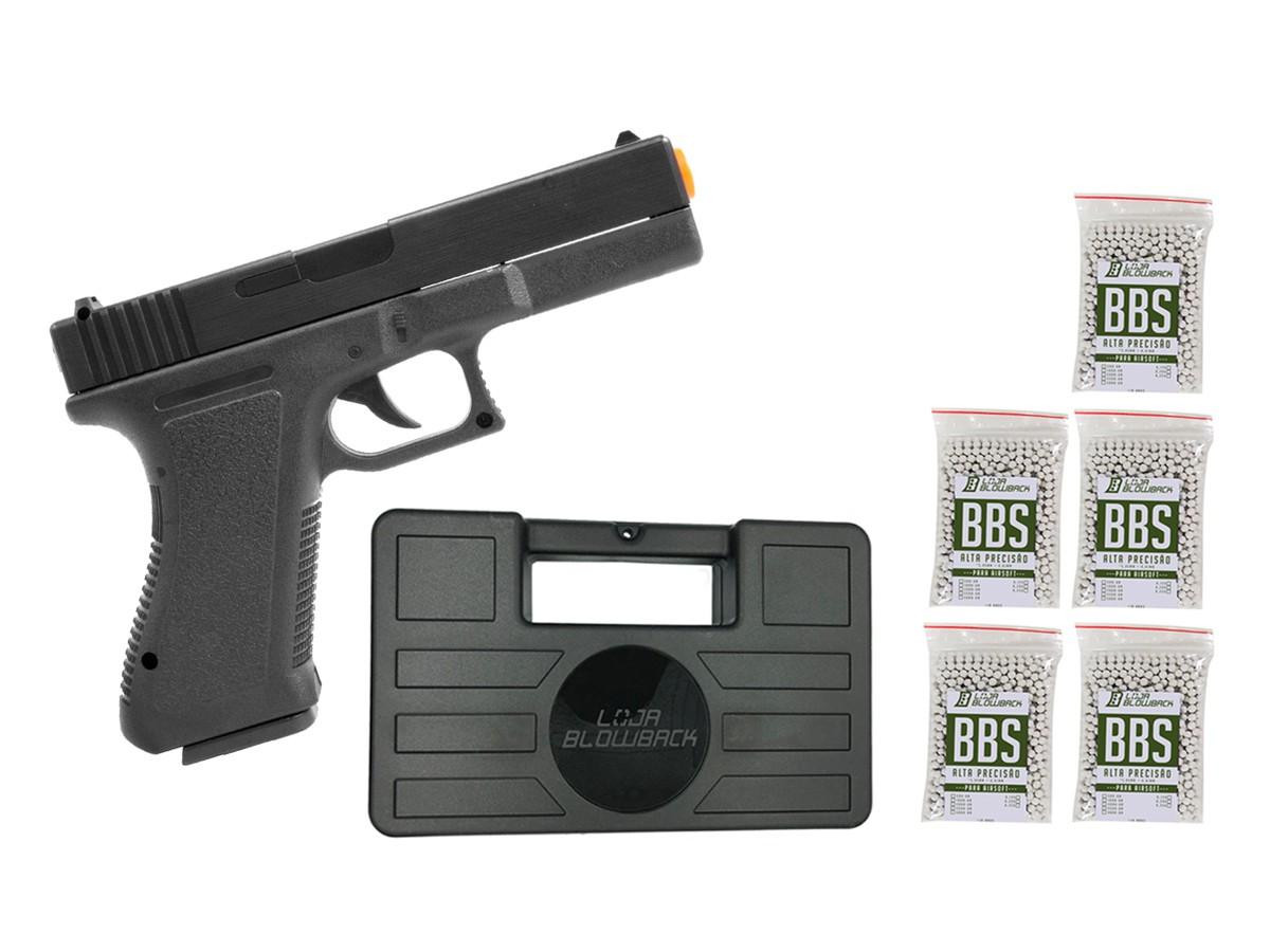 Pistola Airsoft Glock Spring  V307 6mm + maleta case + 5000 bbs