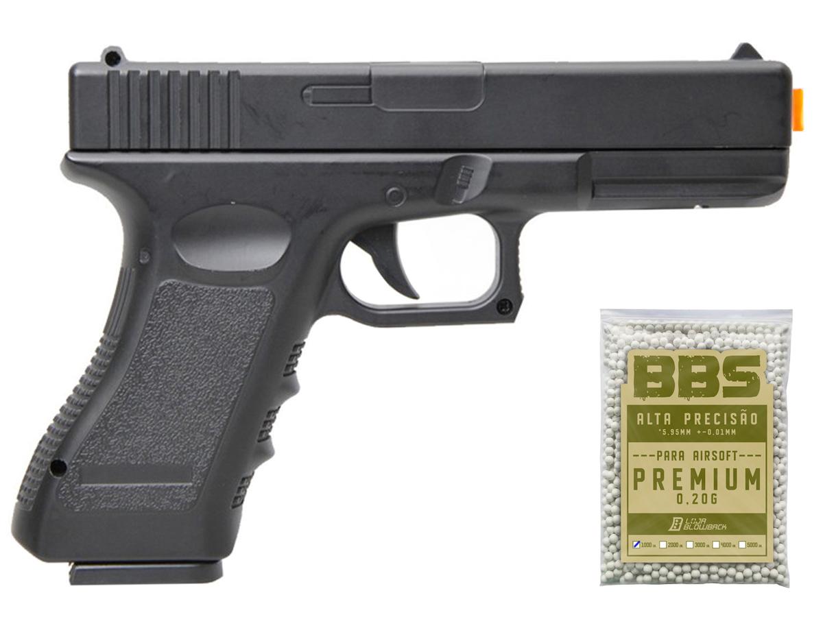 Pistola Airsoft Glock V20 Full Metal Spring 6mm + 1000 Bbs 0,20g loja Blowback - 6 mm - Preto