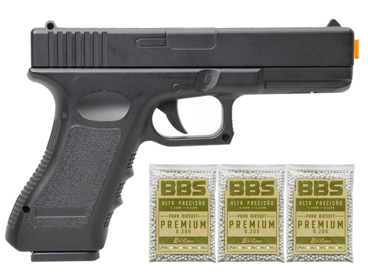 Pistola Airsoft Glock V20 Full Metal Spring 6mm + 3000 Bbs 0,20g loja Blowback