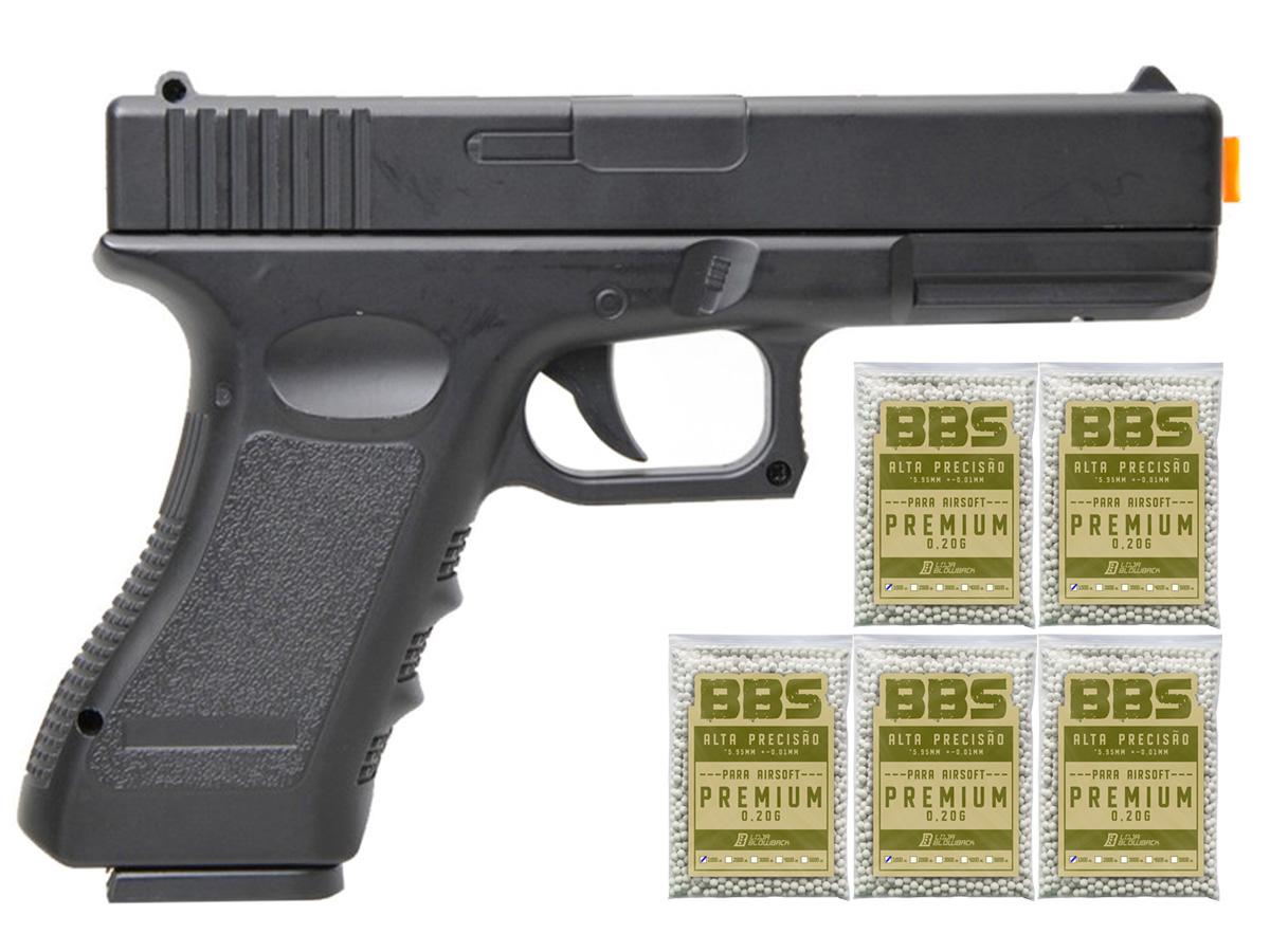Pistola Airsoft Glock V20 Full Metal Spring 6mm + 5000 Bbs 0,20g loja Blowback - 6 mm - Preto