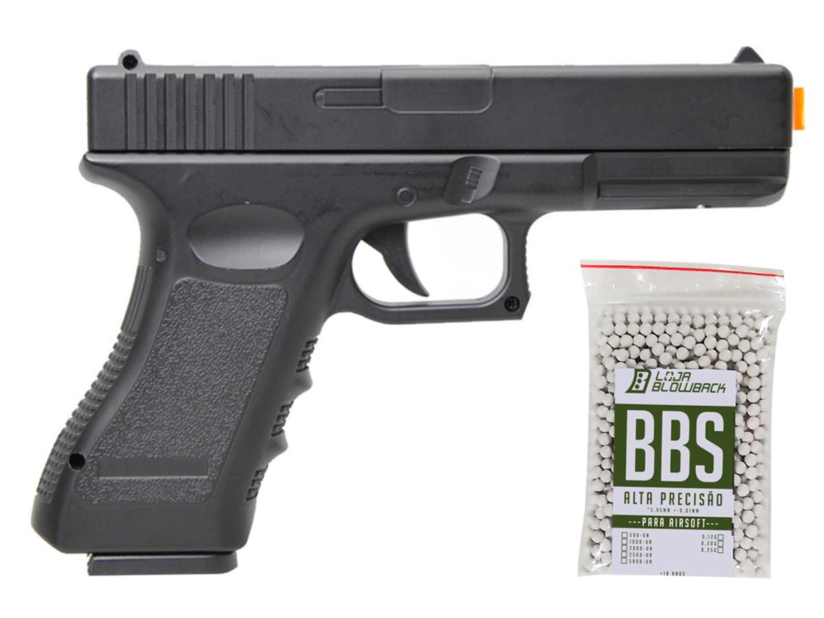 Pistola Airsoft Glock V20 Full Metal Spring 6mm + 1000 Bbs 0,12g loja Blowback