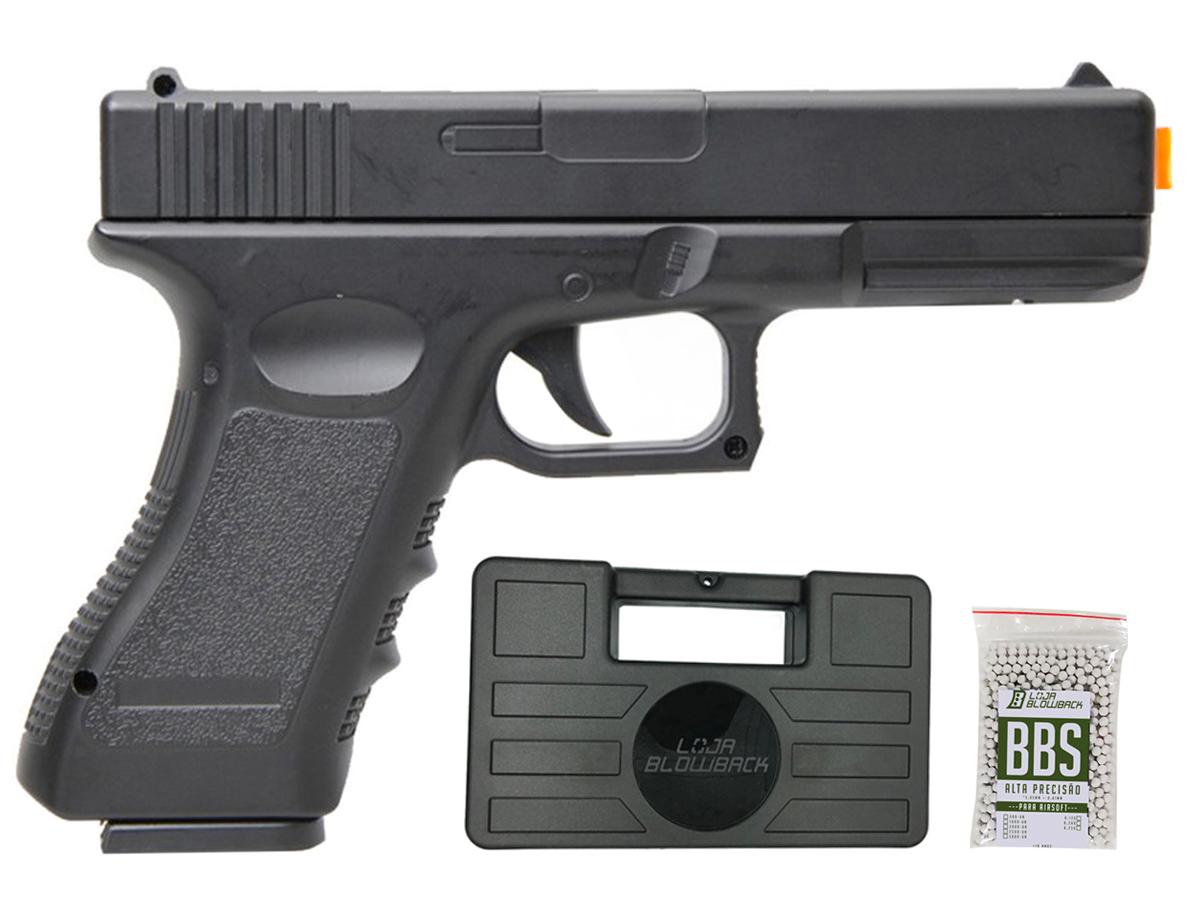 Pistola Airsoft Glock V20 Full Metal Spring 6mm + 1000 Bbs 0,12g loja Blowback + Maleta - 6 mm - Preto
