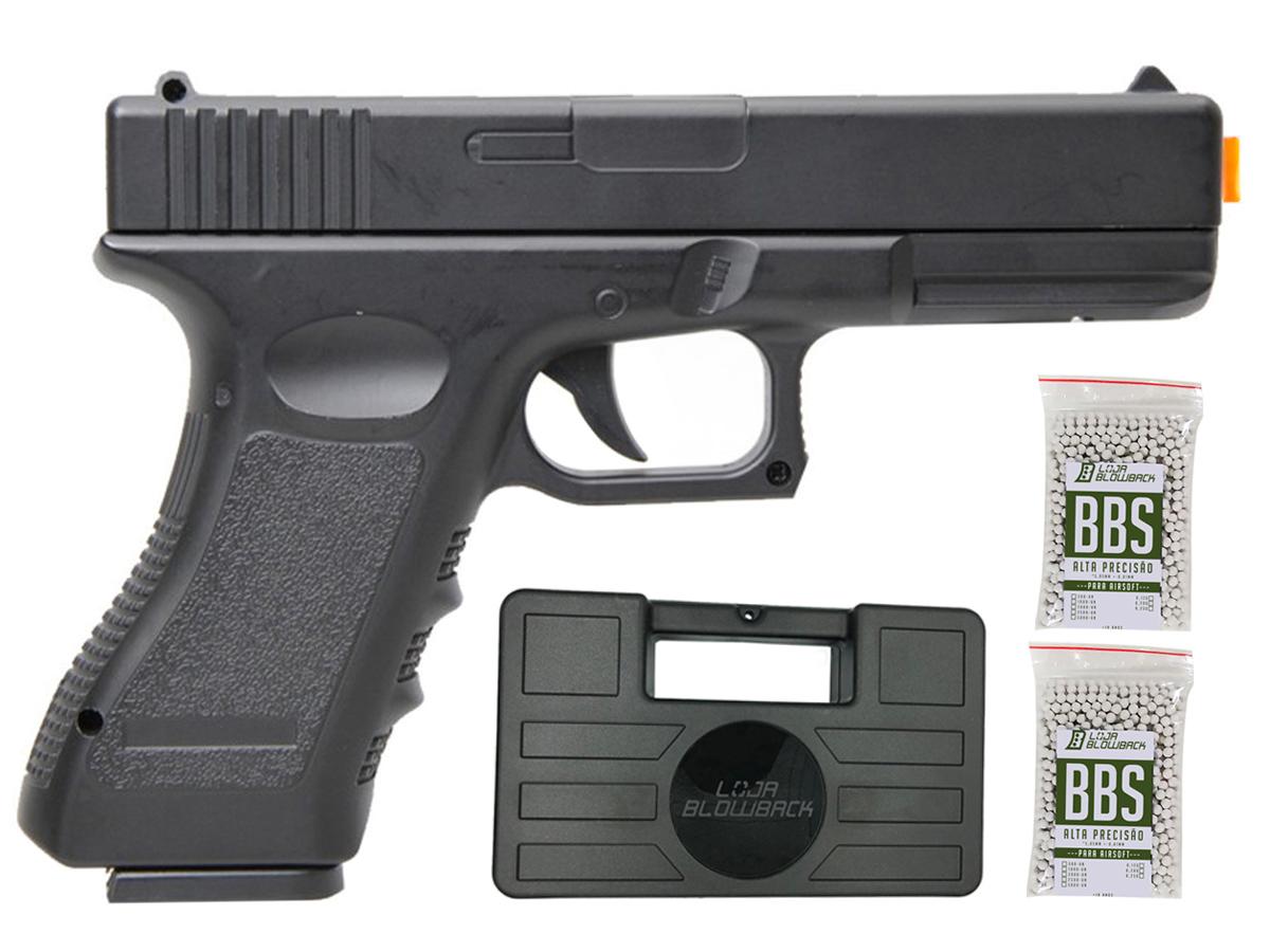 Pistola Airsoft Glock V20 Full Metal Spring 6mm + 2000 Bbs 0,12g loja Blowback + Maleta