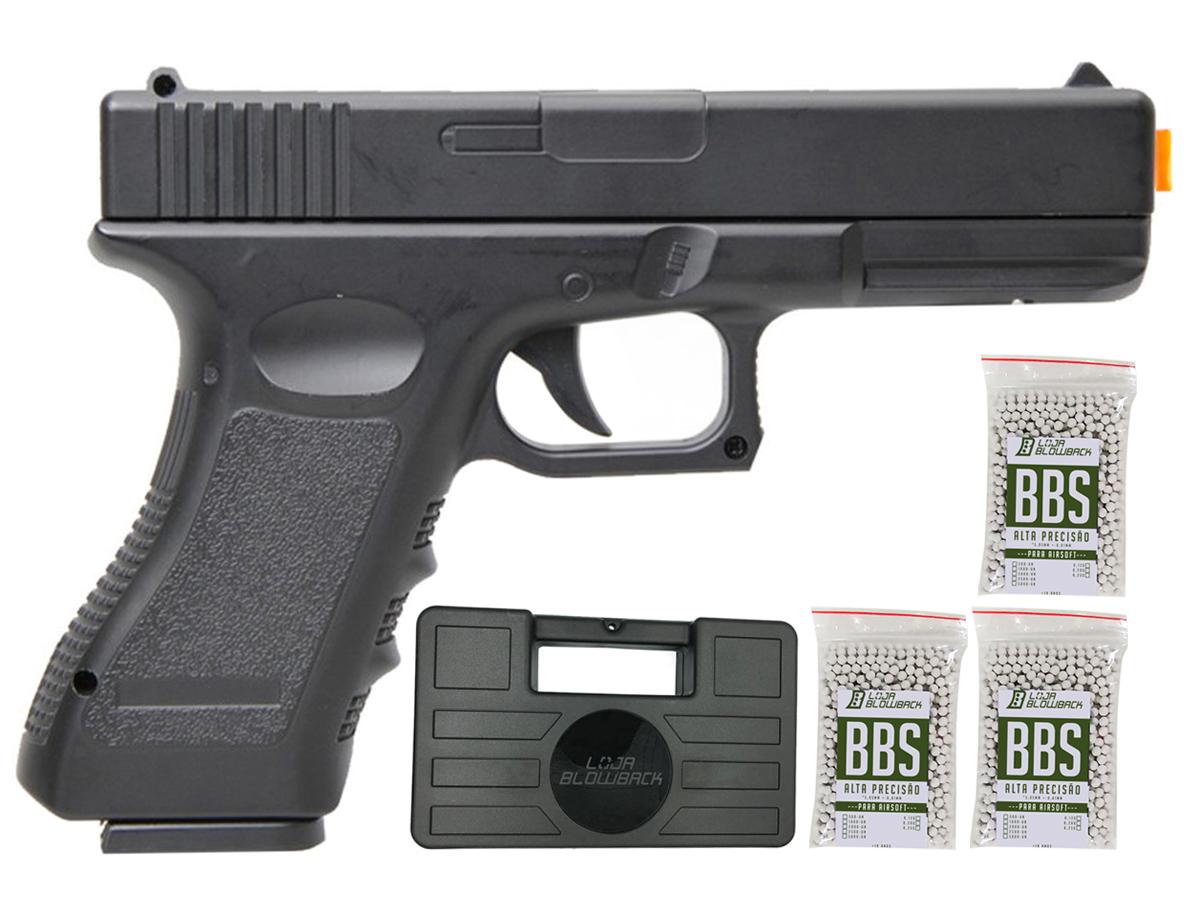 Pistola Airsoft Glock V20 Full Metal Spring 6mm + 3000 Bbs 0,12g loja Blowback + Maleta