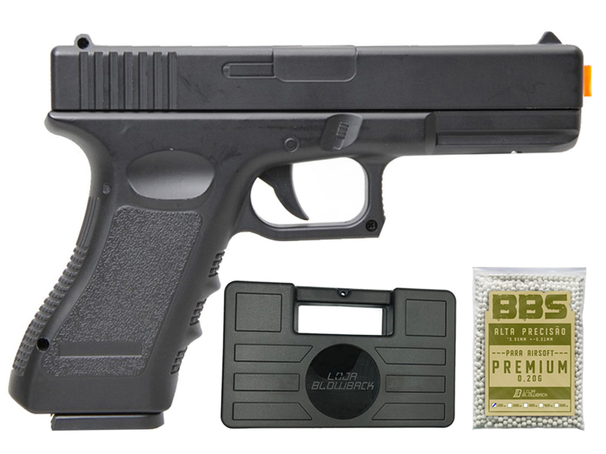 Pistola Airsoft Glock V20 Full Metal Spring 6mm + 1000 Bbs 0,20g loja Blowback + Maleta - 6 mm - Preto