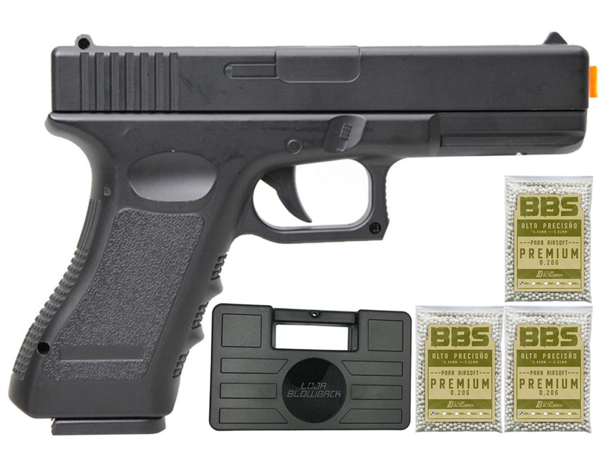 Pistola Airsoft Glock V20 Full Metal Spring 6mm + 3000 Bbs 0,20g loja Blowback + Maleta - 6 mm - Preto