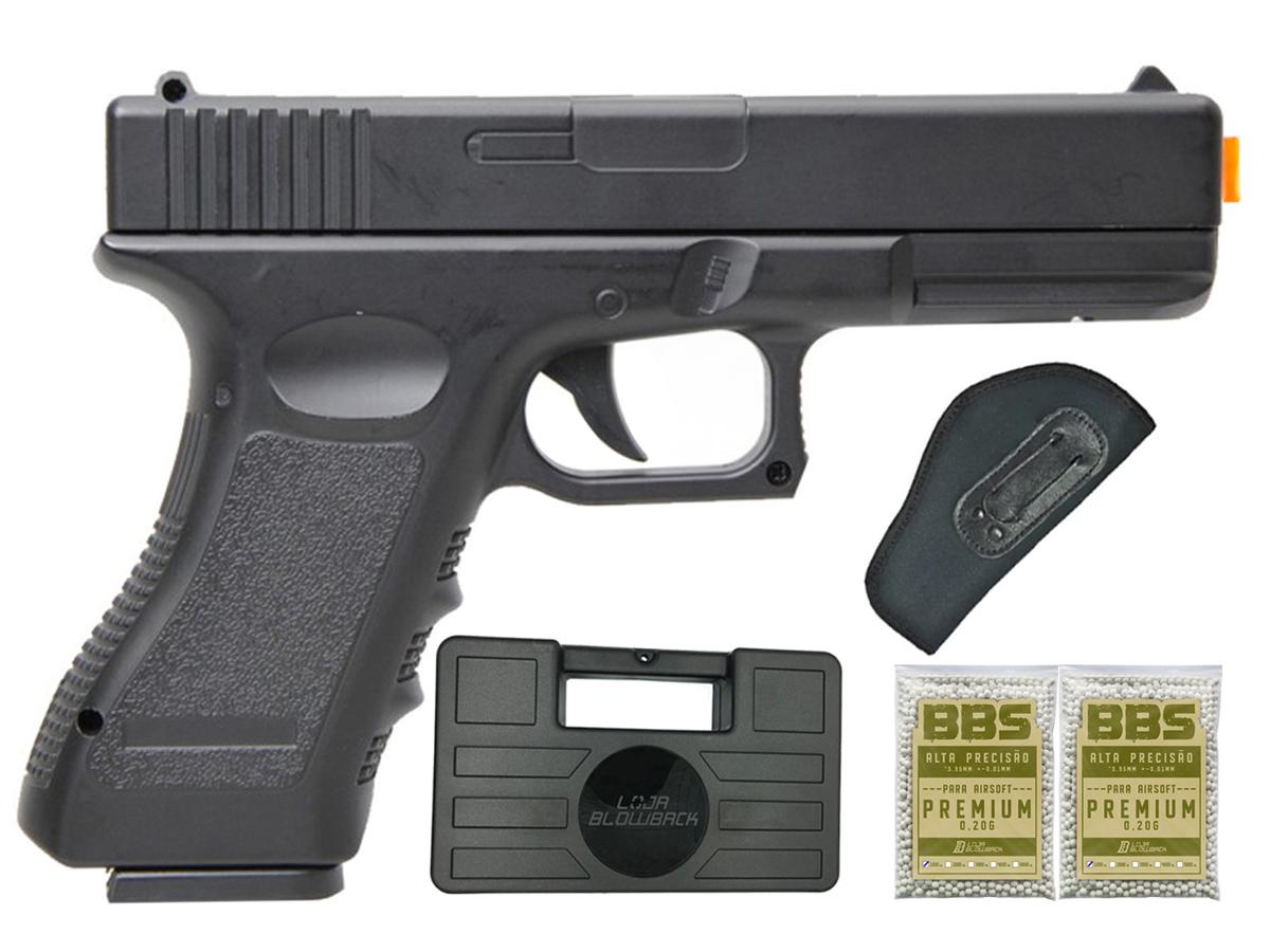 Pistola Airsoft Glock V20 Full Metal Spring 6mm + 2000 Bbs 0,20g loja Blowback + Maleta + Coldre velado