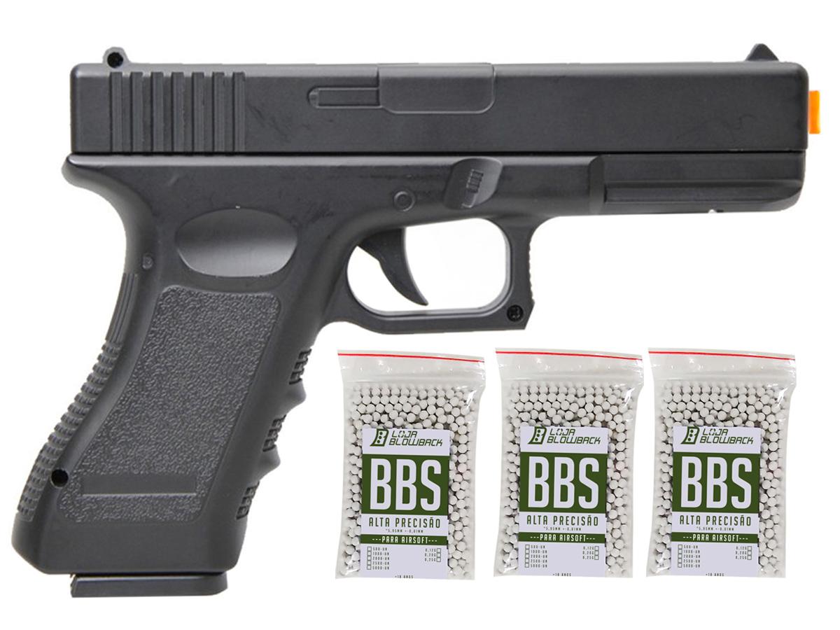 Pistola Airsoft Glock V20 Full Metal Spring 6mm + 3000 Bbs 0,12g loja Blowback - 6 mm - Preto