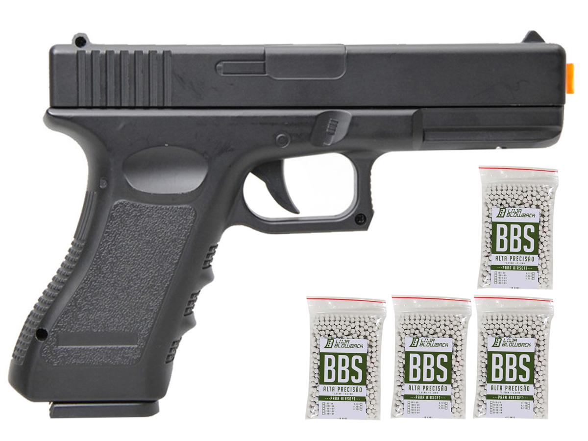 Pistola Airsoft Glock V20 Full Metal Spring 6mm + 4000 Bbs 0,12g loja Blowback - 6 mm - Preto