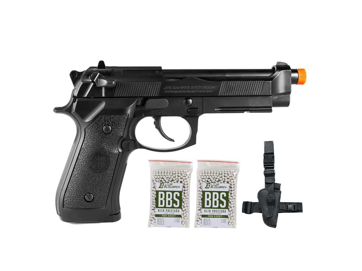Pistola Airsoft HFC PT92 GBB Blowback 6mm K1+ Coldre robocop