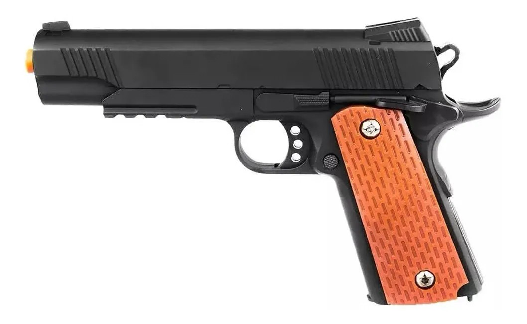 Pistola Airsoft Metal Slide 1911 Spring Gk V13 6mm + 4000 Bbs + Maleta