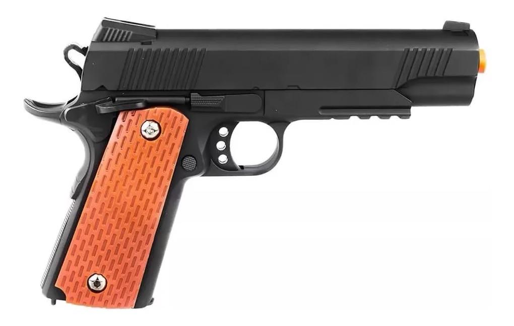 Pistola Airsoft Metal Slide 1911 Spring Gk V13 6mm + 5000 Bbs + Maleta