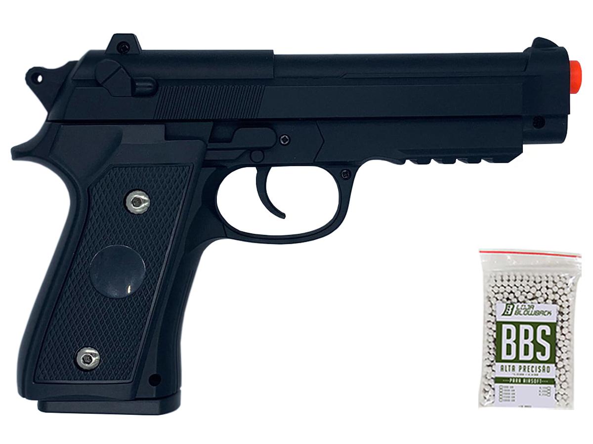 Pistola Airsoft Pt92 V22 Full Metal Spring 6mm + 1000 Bbs 0,12g loja Blowback
