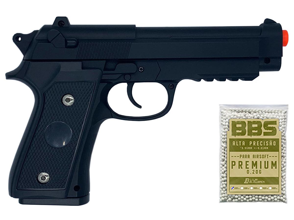 Pistola Airsoft Pt92 V22 Full Metal Spring 6mm + 1000 Bbs 0,20g loja Blowback