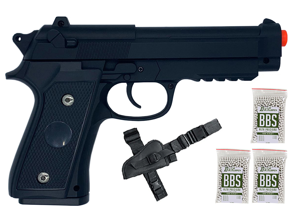 Pistola Airsoft Pt92 V22 Full Metal Spring 6mm + 3000 Bbs 0,12g loja Blowback + Coldre robocop