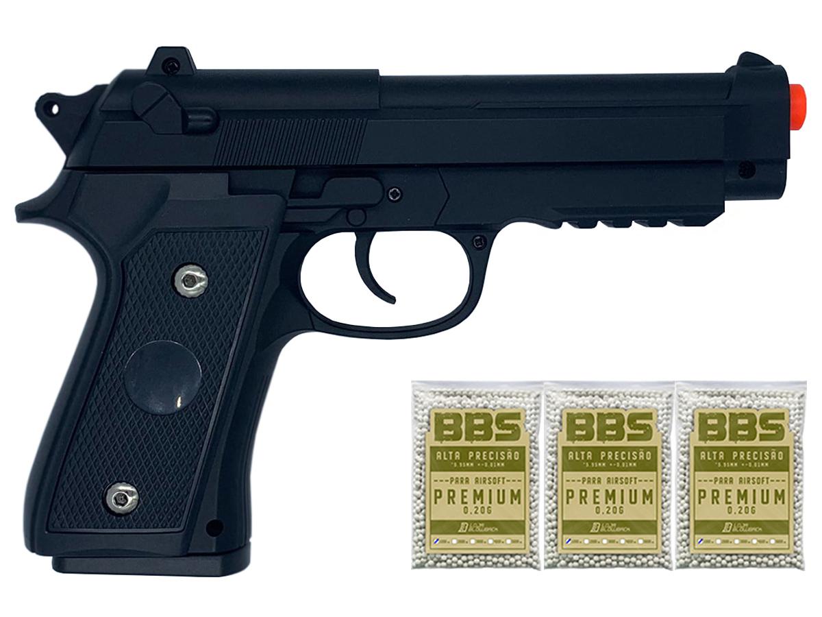 Pistola Airsoft Pt92 V22 Full Metal Spring 6mm + 3000 Bbs 0,20g loja Blowback